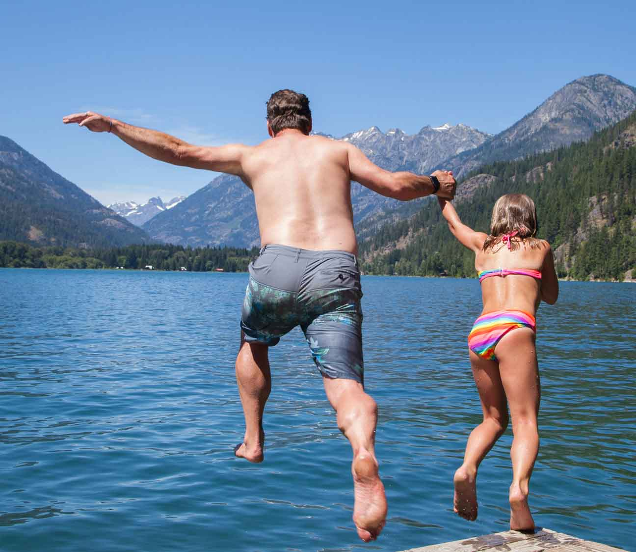 Jumping into Lake Chelan